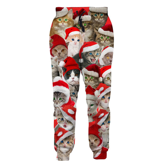 Ugly Christmas Cat Sweat Pants