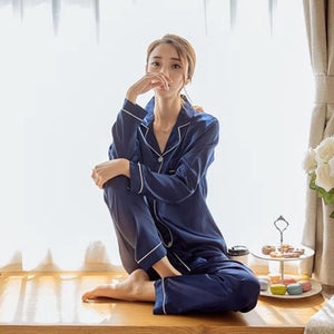 Women's Satin Two Piece Pajamas Set