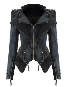 Womens Power Studded Punk Vintage Denim Jacket