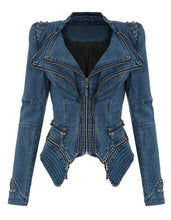 Load image into Gallery viewer, Womens Power Studded Punk Vintage Denim Jacket