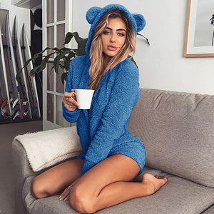 Adult Womens Fleece Kigurumi Bear Ear Jumpsuit Pajamas