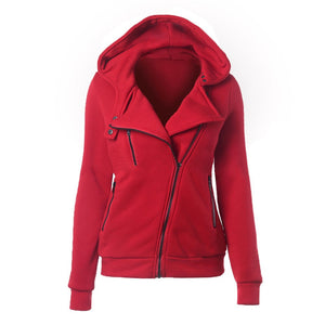 Womens Oblique Moto Hooded Zipper Jacket