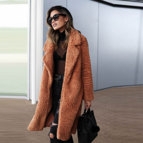 Teddy Bear Fluffy Sherpa Womens Long Winter Coat