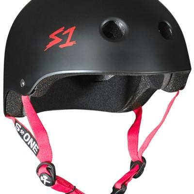 S-ONE LIFER HELMET MATTE BLACK WITH RED STRAPS