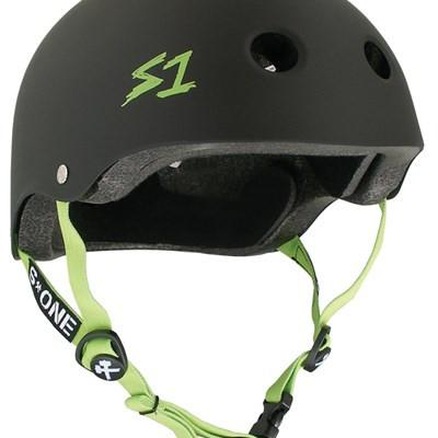 S-ONE LIFER HELMET MATTE BLACK WITH BRIGHT GREEN STRAPS