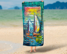 Load image into Gallery viewer, 'A Quiet Morning At Sea' Sail Boat Beach Bath Towel