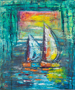 'A Quiet Morning At Sea' Abstract Sailboat Canvas Art