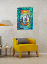 Load image into Gallery viewer, 'A Quiet Morning At Sea' Abstract Sailboat Canvas Art