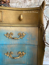Load image into Gallery viewer, 'Athena' Hand Painted Romantic Turquoise Dresser