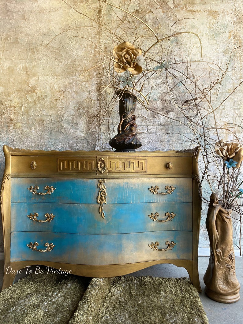 'Athena' Hand Painted Romantic Turquoise Dresser