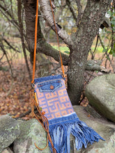 Load image into Gallery viewer, 'Autumn Blues' Crossbody Textile Print Bag