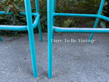 Load image into Gallery viewer, SOLD Mid Century Brown Jordan Turquoise Bar Stools