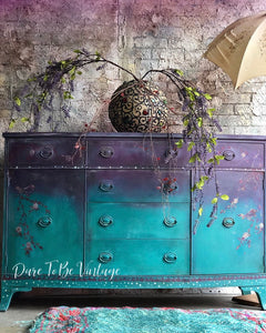 SOLD Whimsical Hand Painted Bohemian Buffet Sideboard