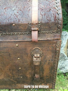 SOLD Antique 18th Century Leather Steamer Trunk