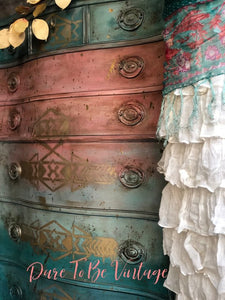SOLD Sante Fe  Southwestern Style Hand Painted Dresser