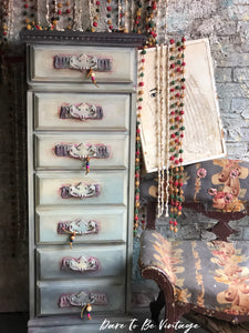 SOLD Vintage Hand Painted Bohemian Lingerie Chest Tall Dresser