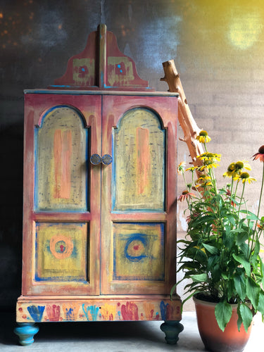 SOLD Bohemian One of Kind Armoire Cabinet