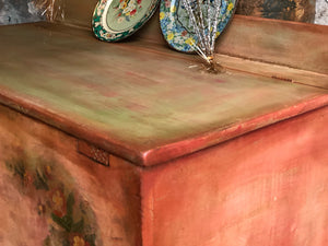 SOLD Vintage Painted Rustic Farmhouse Blanket Chest Box