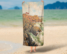 "Load image into Gallery viewer, ""Lighthouse Keeper"" Seascape Shower Curtain"