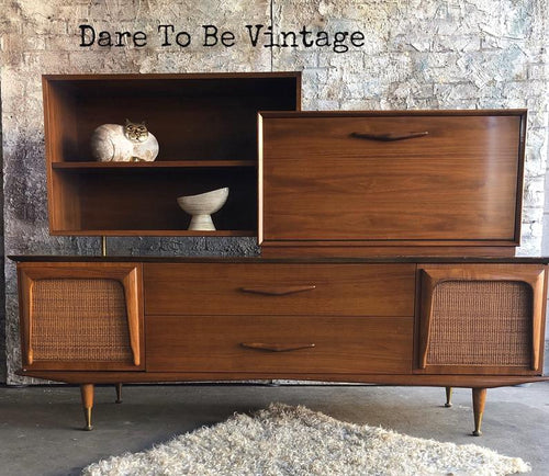 SOLD Mid Century Modern Credenza Wall Unit Bar Free Shipping
