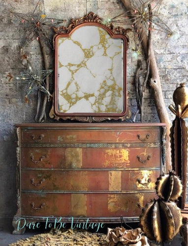 Hand Painted Metallic Gold Leaf Rustic Glam Dresser Buffet
