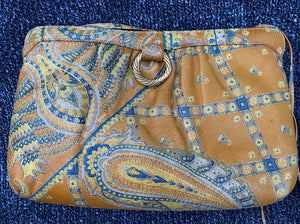 Vintage 1970's Morris Moskowitz Leather Floral Paisley Crossbody