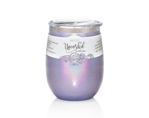 PRE-ORDER for Early Jan 19 delivery - UNCORK'D XL 14oz Wine Glass by BrüMate | Glitter Violet