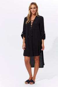 Marguerite Shirt Dress - Jet