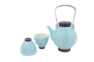 Blue Lantern Teapot and 2 Cups