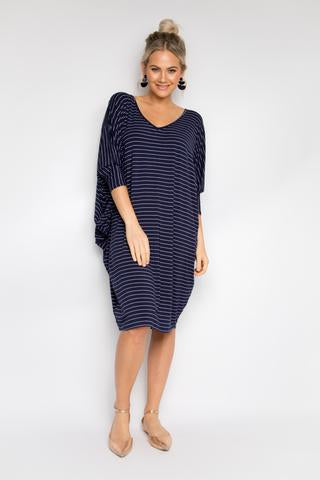 Long Sleeve Miracle Dress - Navy Pinstripe