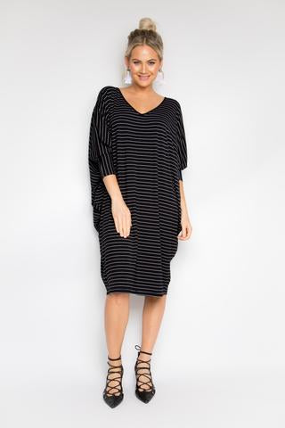 Miracle Dress - Black Pinstripe CURVE