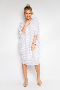 Miracle Dress - White Pinstripe