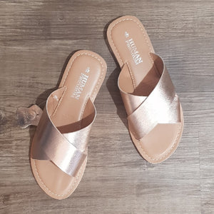 Quinn Rose Gold Slides