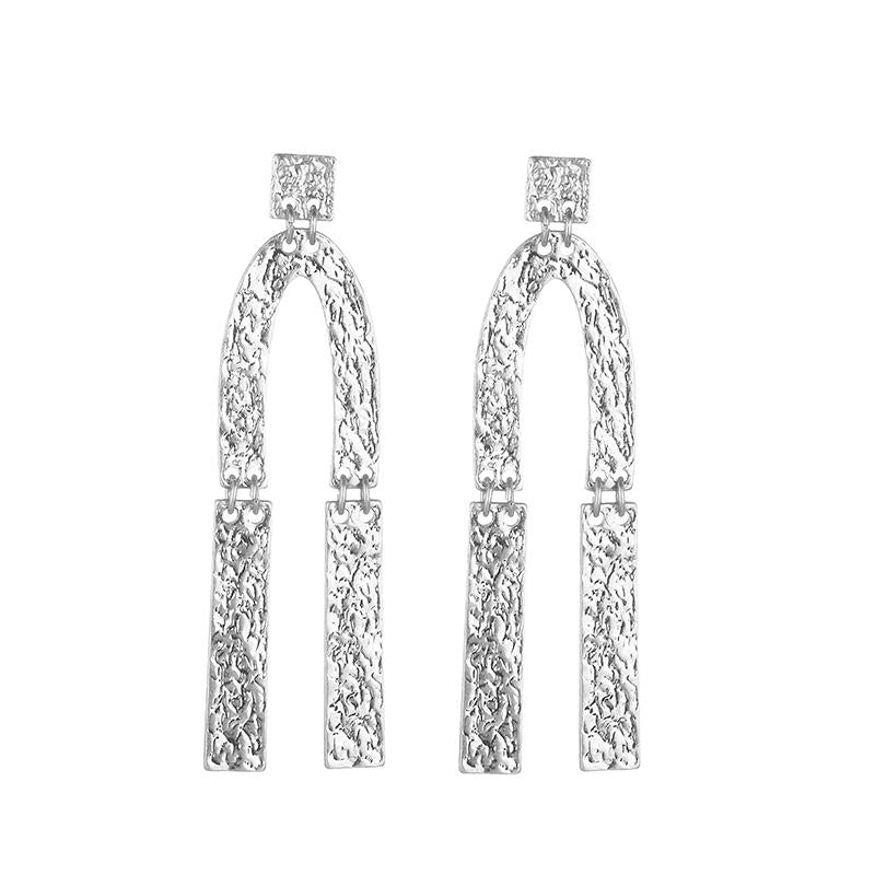 Sian Hammered Earrings - Silver
