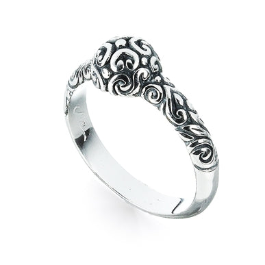 Domed Sterling Silver Hearts Surf Ring