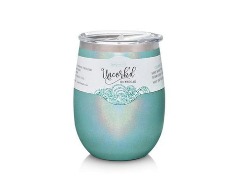PRE-ORDER for Early Jan 19 delivery - UNCORK'D XL 14oz Wine Glass by BrüMate | Glitter Aqua Blue