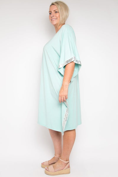 Sequinned Kafdress - Mint
