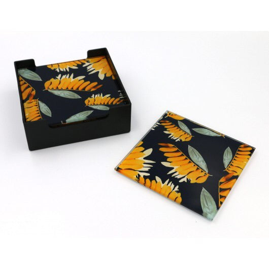 Glass Coasters - Orange Wattle