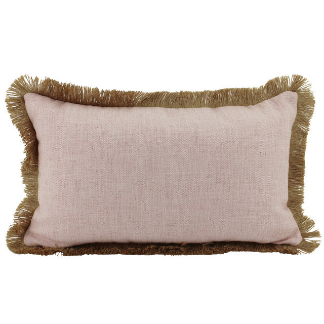 Linen Fringe Cushion - Blush