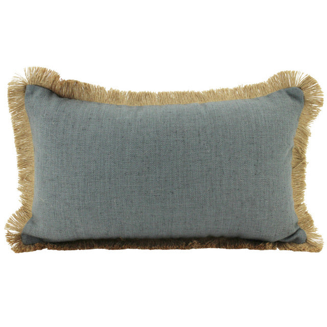 Linen Fringe Cushion - Grey