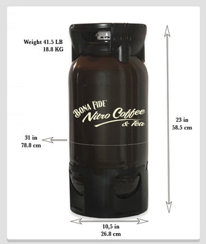 Size and weight of PET Keg with Nitro Coffee
