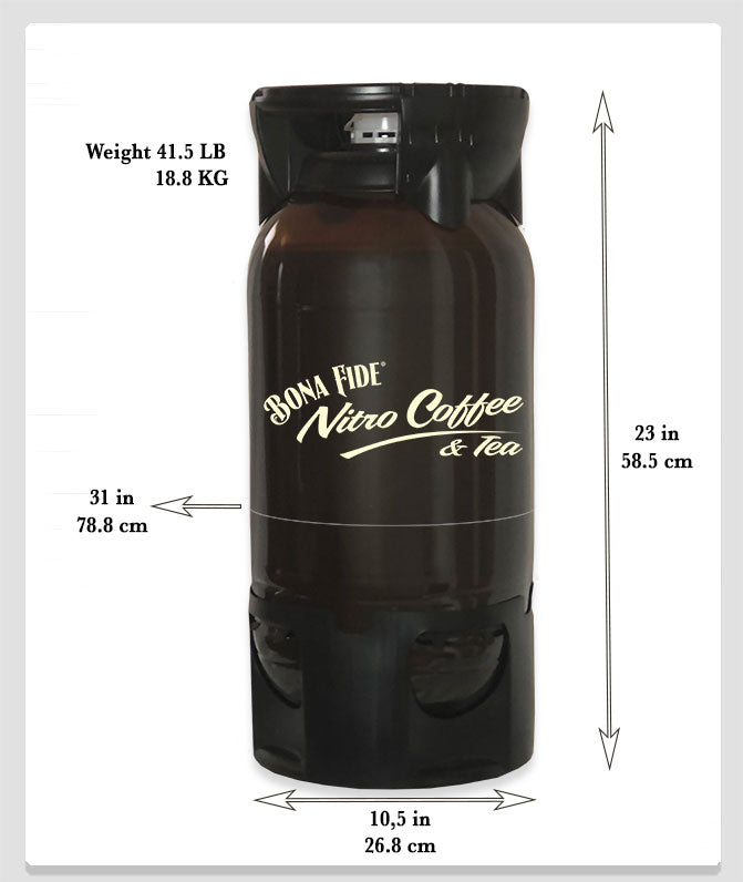 Size and measurement of vanilla nitro kegs made by Bona Fide