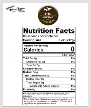 Peru nutritional Facts Bona Fide nitro coffee