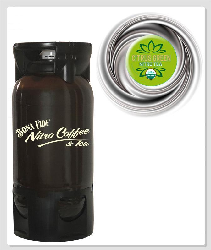 Bona Fide Green Citrus Nitro Tea in PET keg disposable