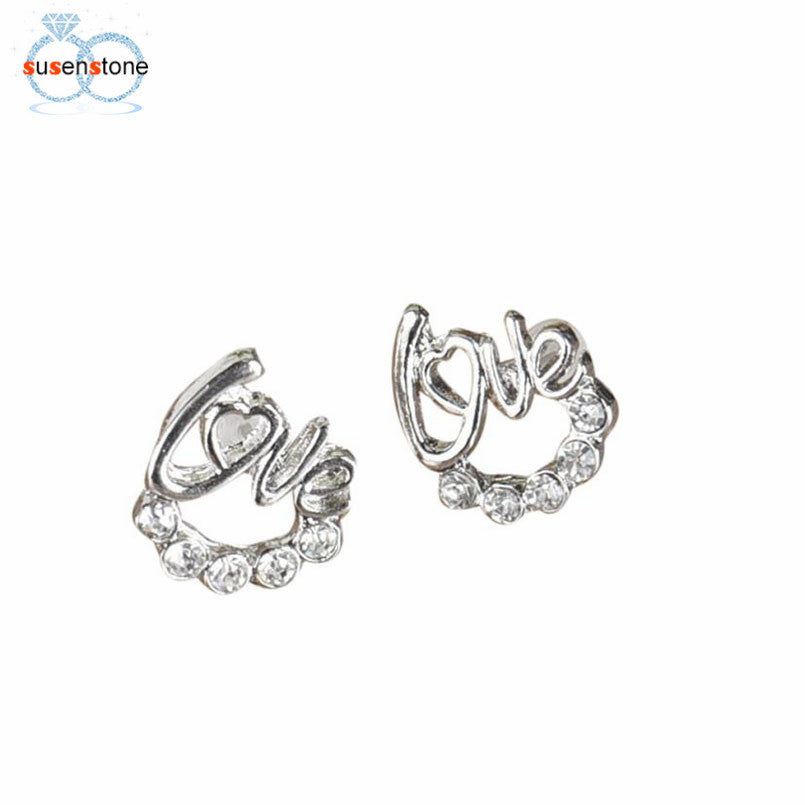 SUSENSTONE 1 Pair Women Lady Elegant Crystal Rhinestone Ear Stud Earrings New Fashion