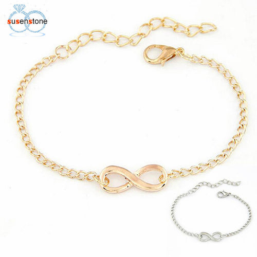 SUSENSTONE 2017 Bracelet for Women Fashion Link Chain Women Men Handmade Gift Charm 8 Shape Jewelry Infinity Siver Gold 20pcs