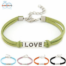 Load image into Gallery viewer, SUSENSTONE 1PC Braided Adjustable Leather Popular Bracelet Women Men Love Handmade Alloy Rope Charm Jewelry Weave Bracelet Gift