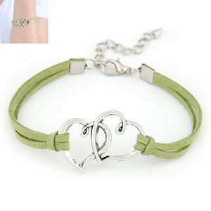 Women Love Heart Handmade Alloy Rope Charm Jewelry Weave Bracelet Gift GN