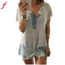 Load image into Gallery viewer, Clearance! Fashion Women blouse Loose Short sleeve Sexy V neck Casual Button Blouse Shirt Tank Tops #LSN