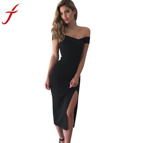 2017Super Sexy Summer Dress Women Off Shoulder Boat Neck Sleeveless Slim Cocktail Split The Fork Lrregular Black Party Dress#LSN